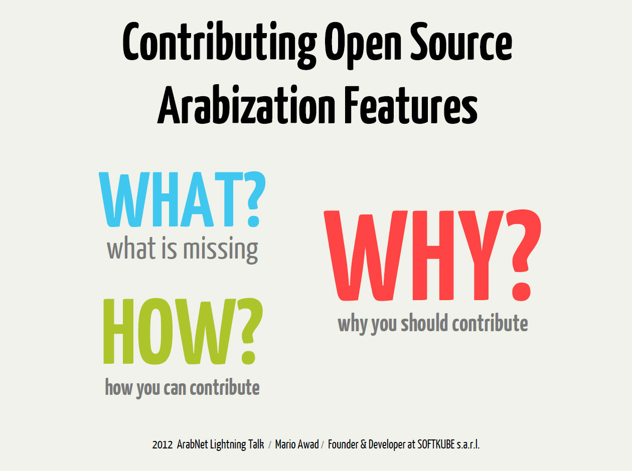 "Preview of the ""Contributing Open Source Arabization Features"" slides."