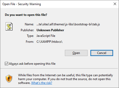 Example Open File Security Warning
