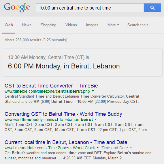Google Timezone Conversion Tool Example