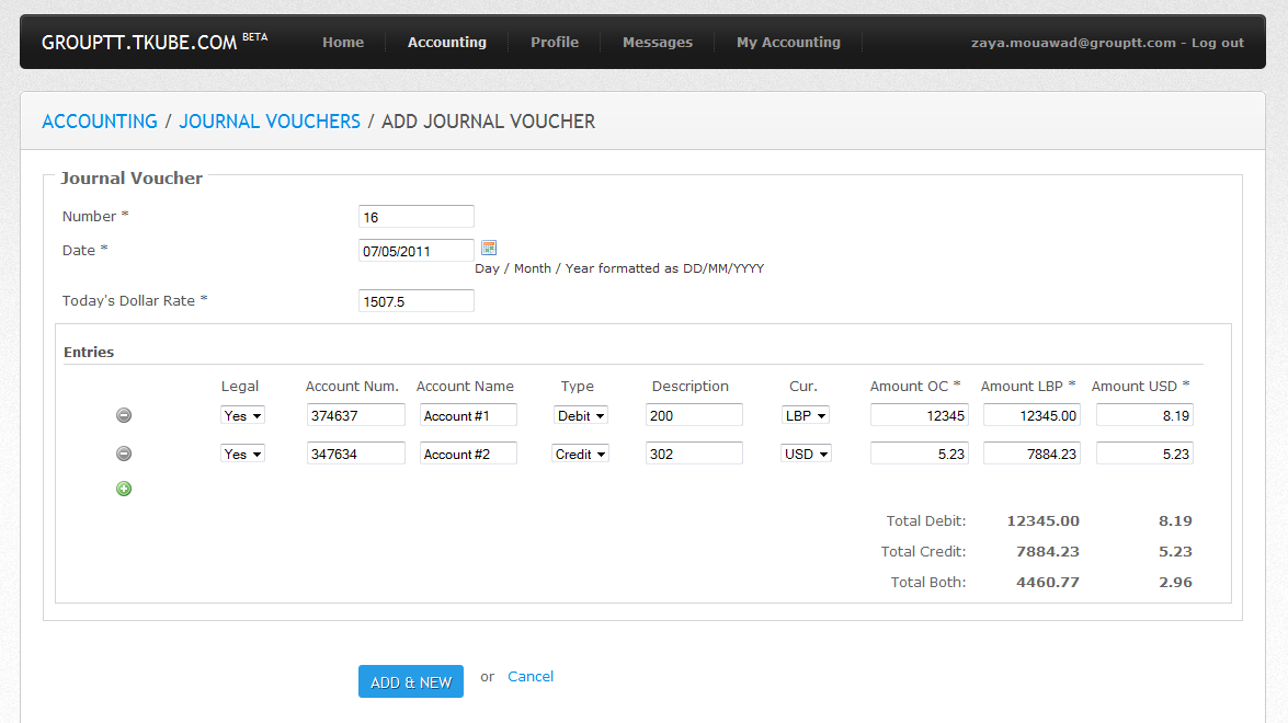 Accounting System - Adding Journal Vouchers