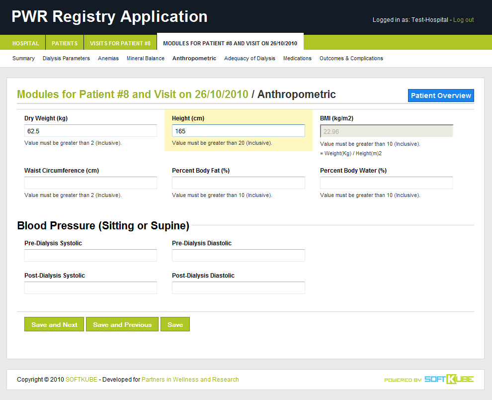 A detail view of one of the available information modules related to patients.