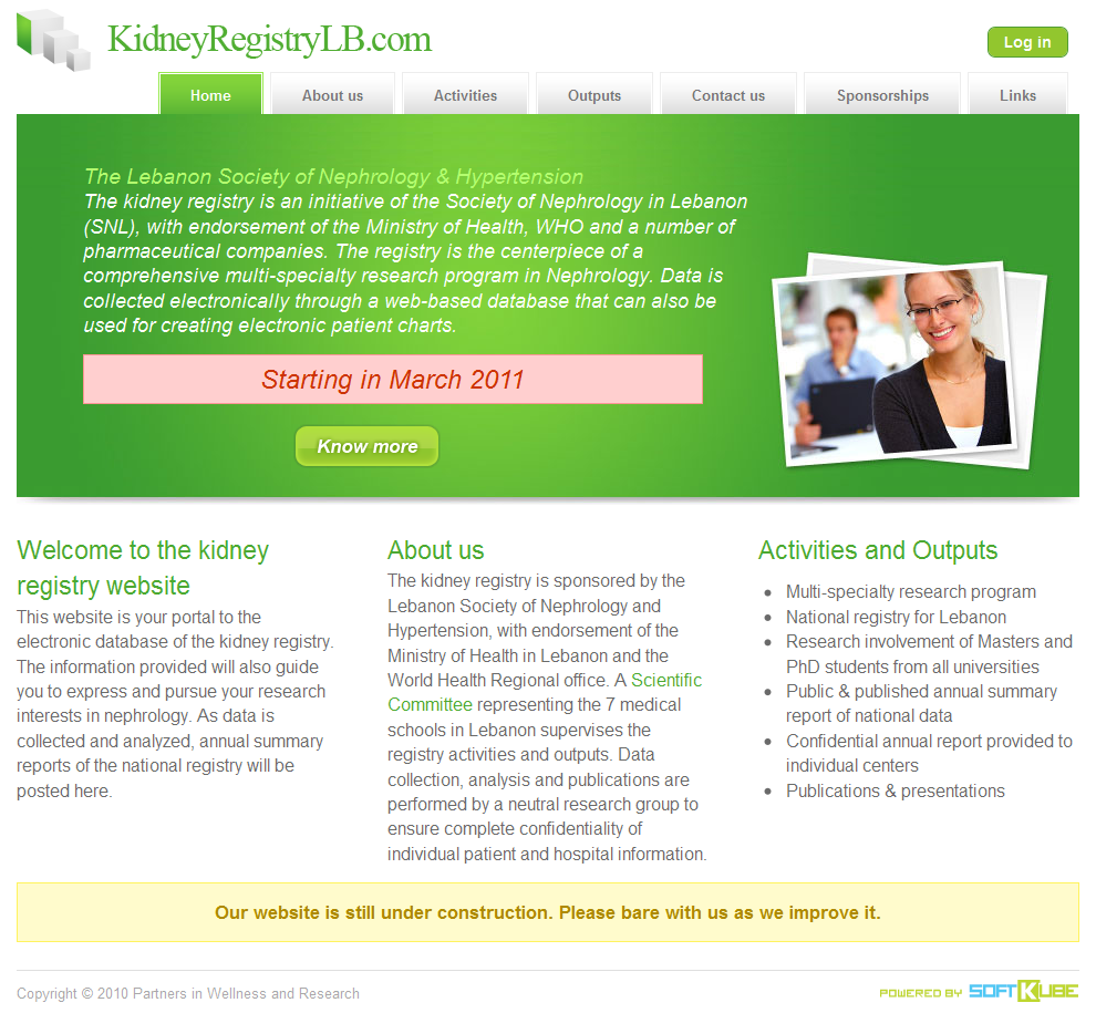 Website design of the kidney registry.
