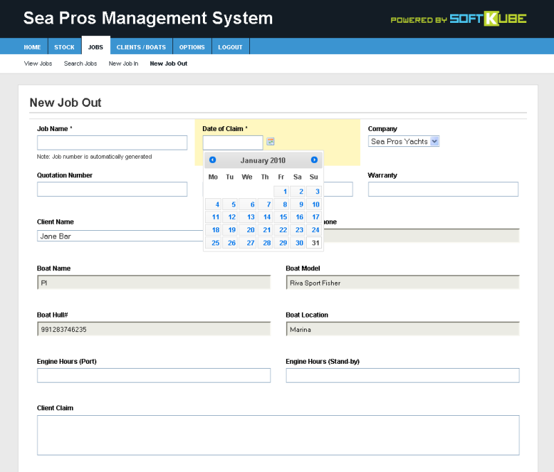 Job creation - Showing job details and dynamic calendar control.