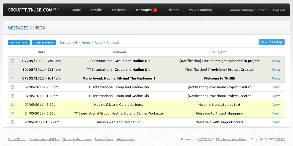 Internal Messaging System - Inbox View