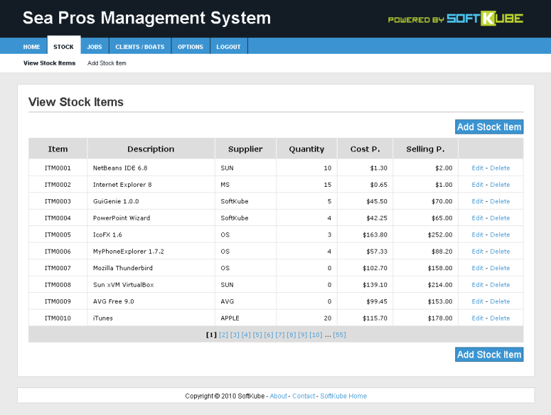 Stock items listing showing the user-friendly paging control at the bottom of the stock list.